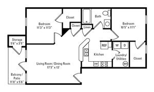 2 Bedroom, 1 Bath 893 sq. ft.