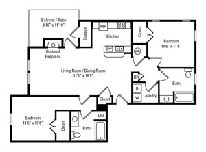 2 Bedroom, 2 Bath 1,070 sq. ft.