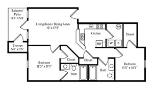 2 Bedroom, 2 Bath 964 sq. ft.