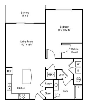 1 Bedroom, 1 Bath 845 sq. ft.