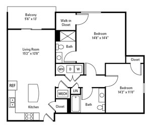 2 Bedroom, 2 Bath 1,138 sq. ft.
