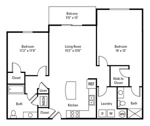 2 Bedroom, 2 Bath 1,168 sq. ft.