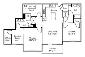 2 Bedroom, 2 Bath 1,394 sq. ft.