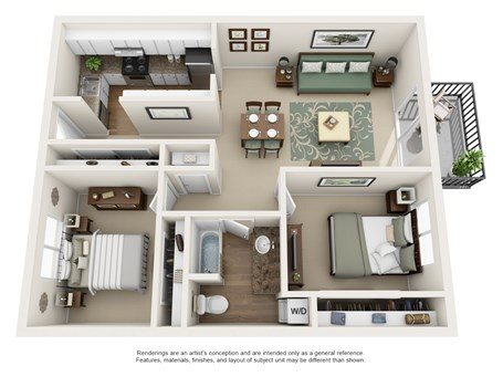 2 Bedroom / 1 Bath Floor Plan 5