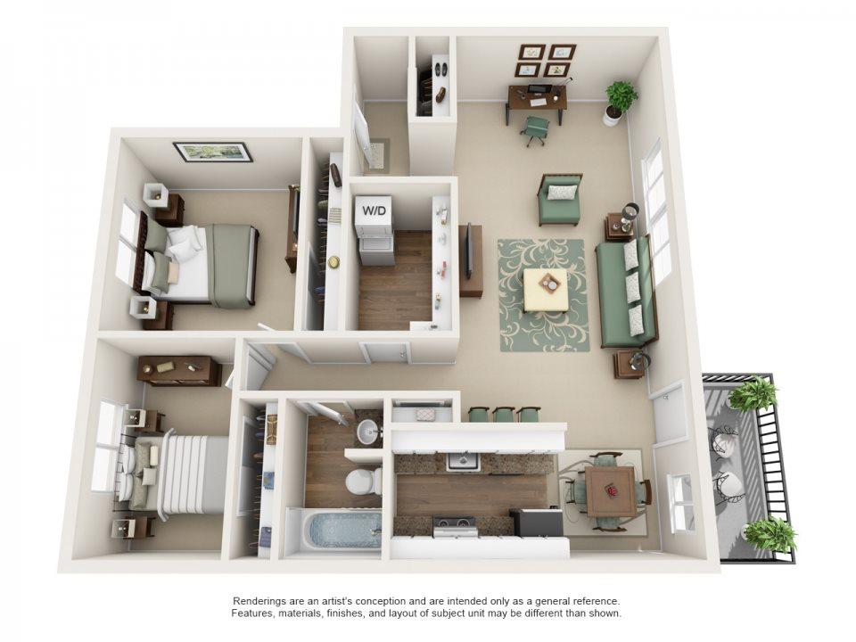 Montclair Terrace Apartment Homes - 2 Bedroom 1 Bath Apartment