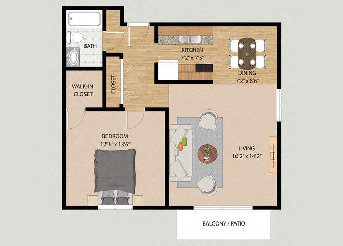One Bedroom One Bathroom Floor Plan at Westmore