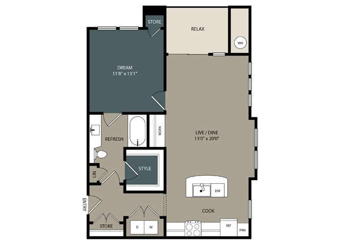 A3 Floor Plan at Touchstone Modern Apartment Homes, 11996 Ridge Parkway, Broomfield, 80021