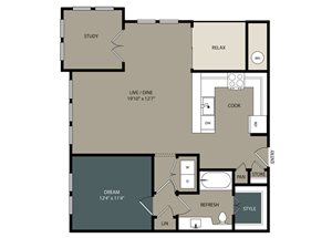 A4 Floor Plan at Touchstone Modern Apartment Homes, 11996 Ridge Parkway, CO 80021