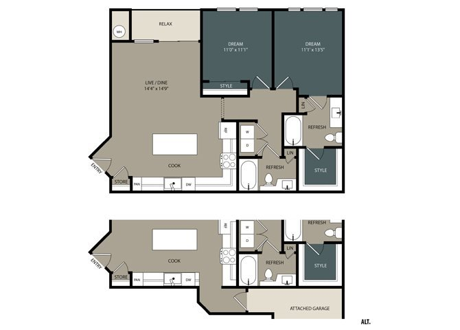 B1 Floor Plan at Touchstone Modern Apartment Homes, 11996 Ridge Parkway, Broomfield