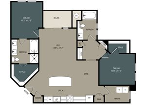 B4 Floor Plan at Touchstone Modern Apartment Homes, 11996 Ridge Parkway, 80021
