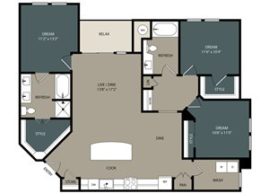C1 Floor Plan at Touchstone Modern Apartment Homes, CO 80021