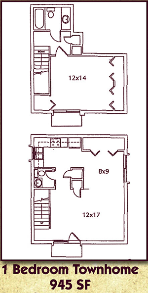 One Bedroom, One and a Half Bath Townhome