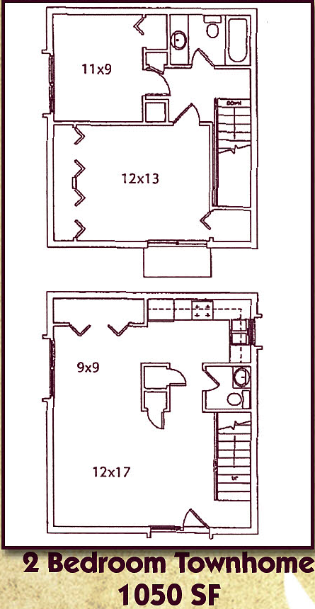 Two Bedroom, One and a Half Bath Townhome Floor Plan 4