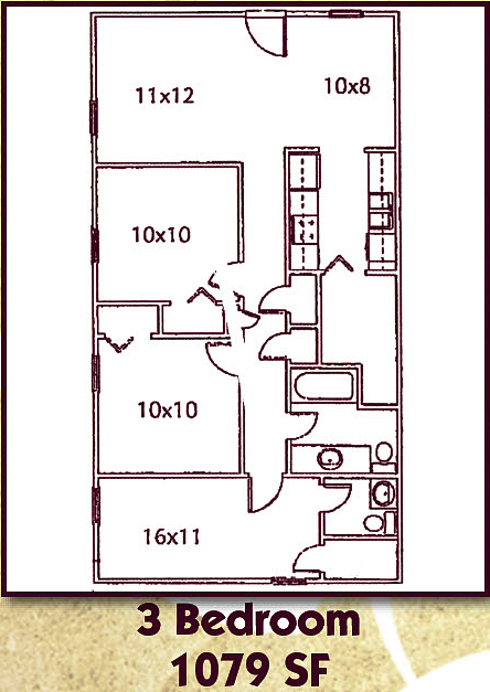 Three Bedroom, One and a Half Bath Floor Plan 5