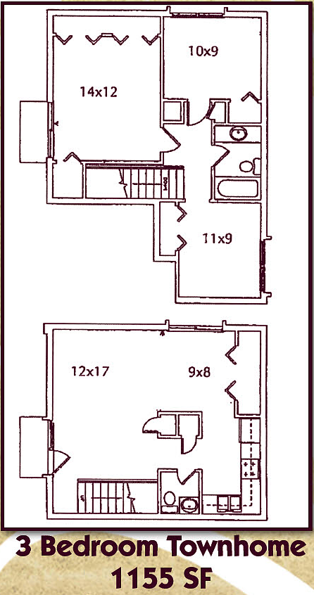 Three Bedroom, One and a Half Bathroom Townhome Floor Plan 6