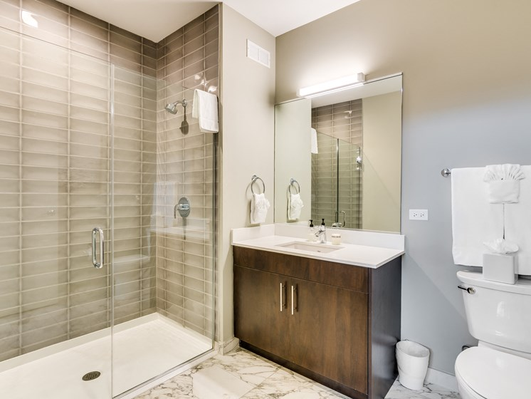851 West Grand Model Apartment Master Bathroom Photo