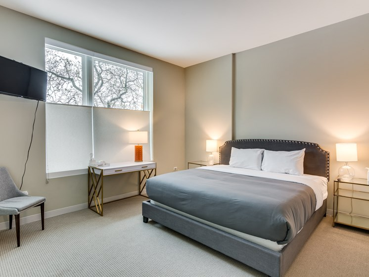 851 West Grand Model Apartment Master Bedroom Photo