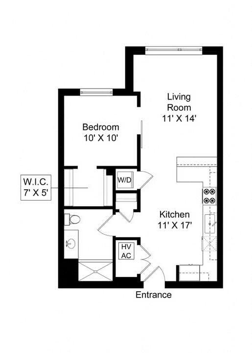 851 West 1 bed 1 bath 680 square foot apartment floor plan