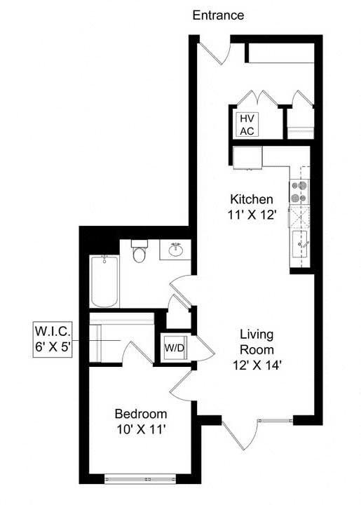 851 West 1 bed 1bath 765 square foot apartment floor plan