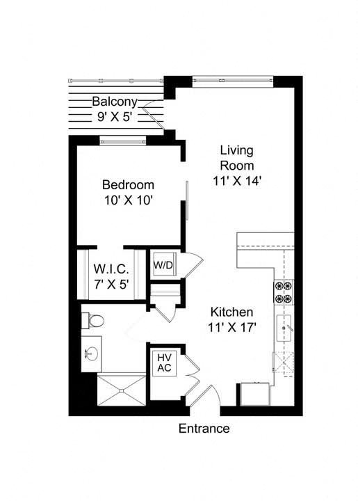 851 West 1 bed 1 bath 710 square foot apartment floor plan