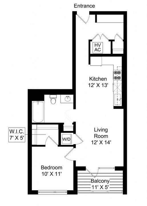 851 West 1 bed 1 bath 765 square foot apartment floor plan