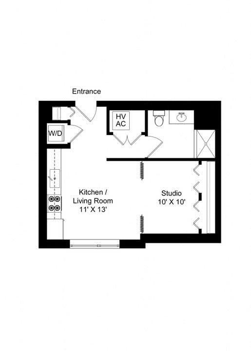 851 West studio 510 square foot apartment floor plan