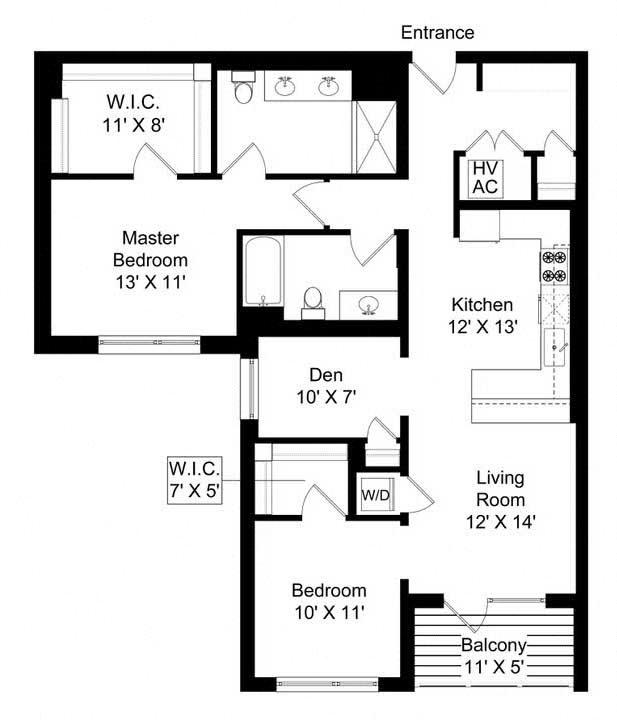 851 West 2 bed plus den 2 bath 1275 square foot apartment floor plan