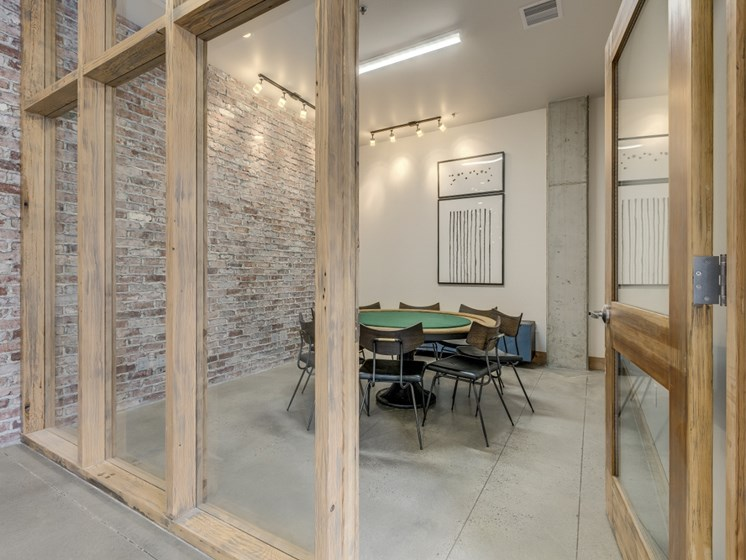 Portland Apartments -Goat Blocks Stylish Conference Room with Round Table Seating