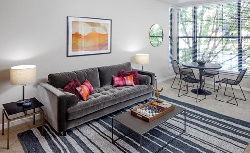 Contemporary Living Room at Kearney Plaza Apartments in Portland, Oregon