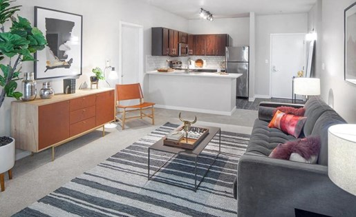 Living Room Interiors at Kearney Plaza Apartments in Portland, Oregon