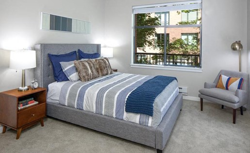 Modern Bedroom Interiors at Kearney Plaza Apartments in Portland, Oregon