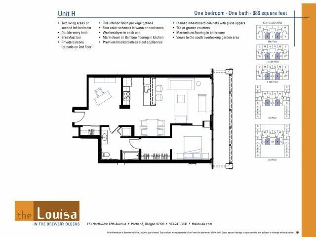 1 Bed 1 Bath (H) Floor Plan 9