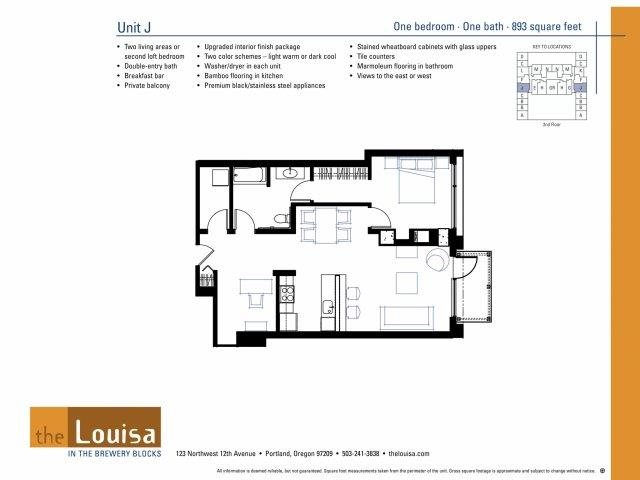 1 Bed 1 Bath (J) Floor Plan 10