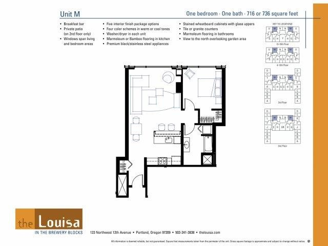 1 Bed 1 Bath (M) Floor Plan 6