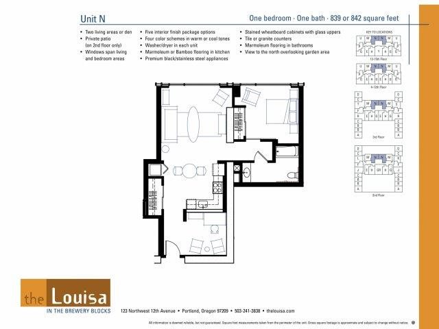 1 Bed 1 Bath (N) Floor Plan 7