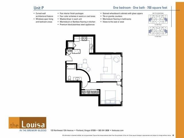 1 Bed 1 Bath (P) Floor Plan 5