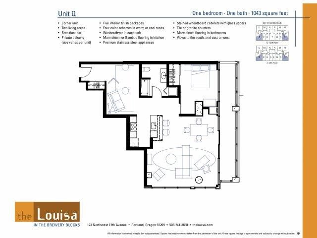 1 Bed 1 Bath (Q) Floor Plan 4