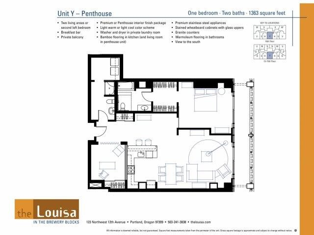 1 Bed 2 Bath (YPenthouse) Floor Plan 11