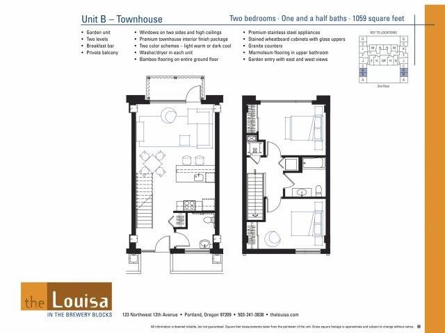 2 Bed 1.5 Bath (B) Floor Plan 12
