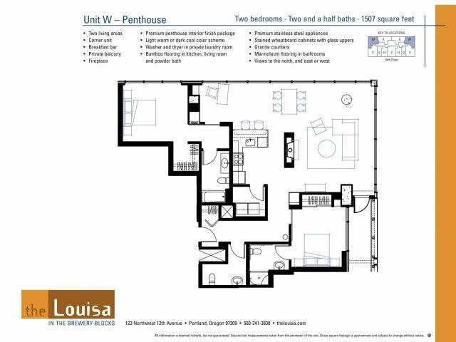 2 Bed 2.5 Bath (WPenthouse) Floor Plan 16
