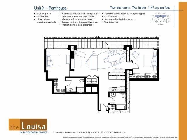 2 Bed 2 Bath (XPenthouse) Floor Plan 18