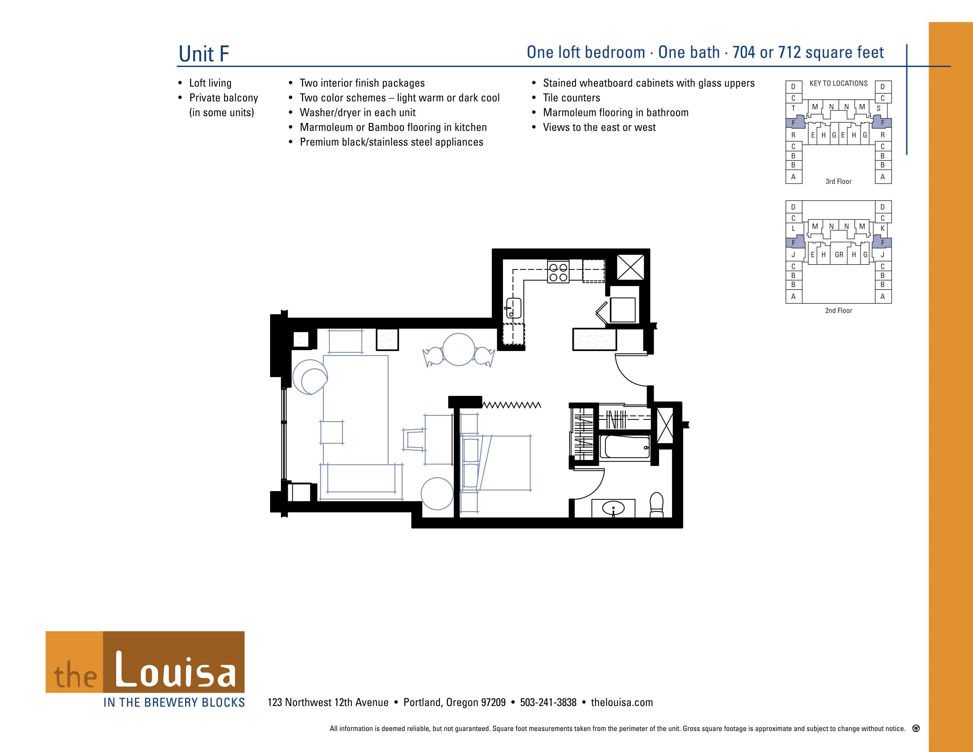 Studio F Floor Plan at The Louisa Apartments in Portland, Oregon