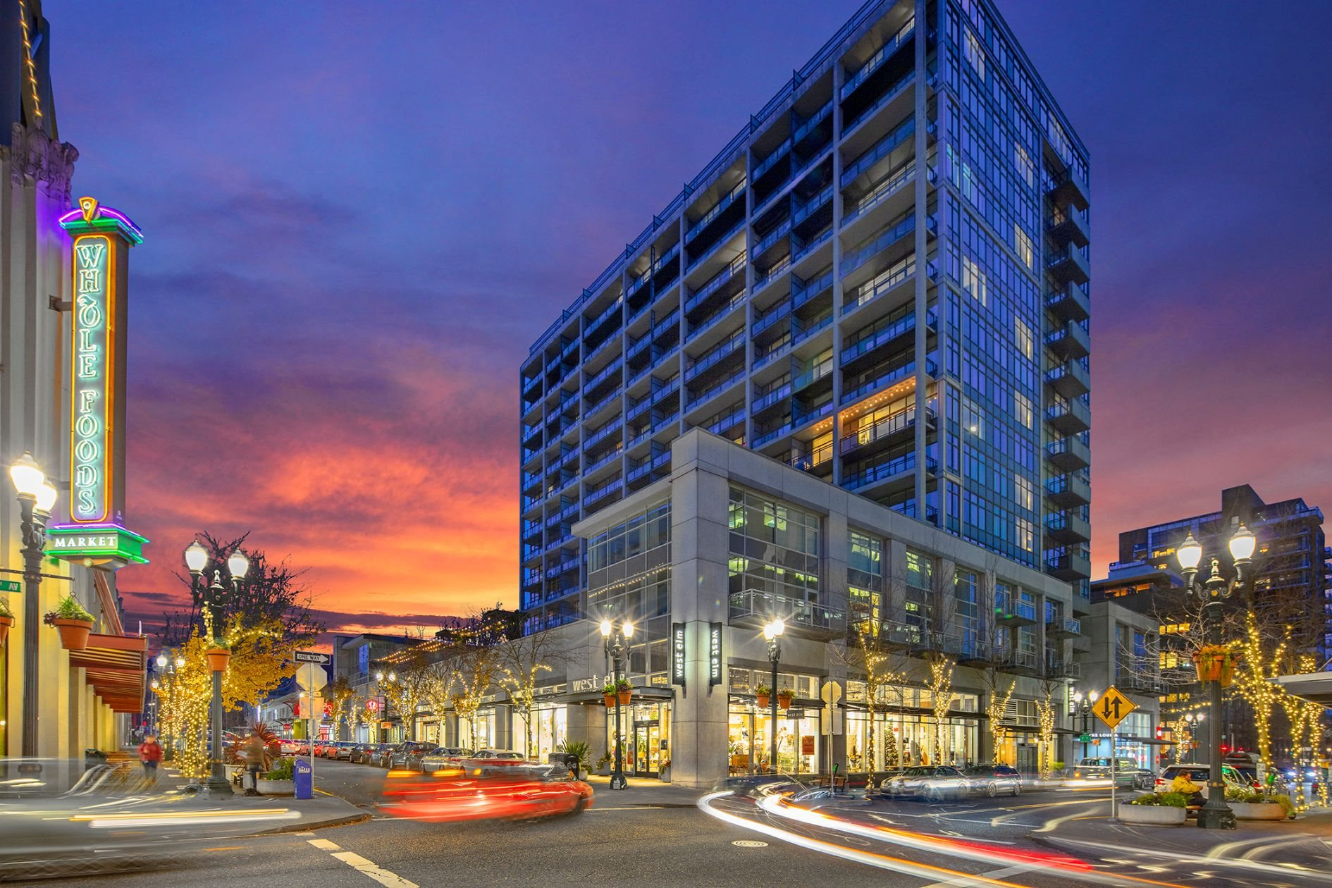 Night View of The Louisa Apartments in Portland, Oregon