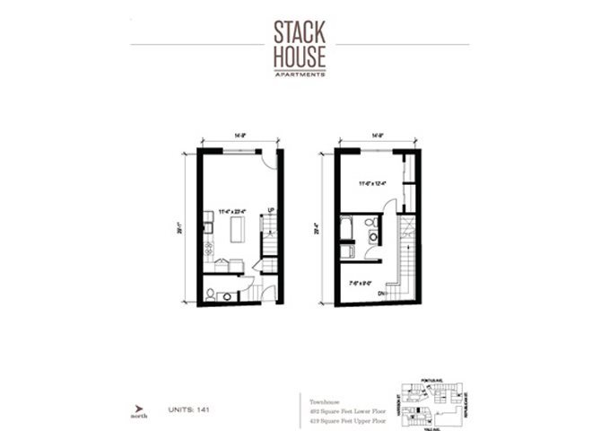 1bd/1.5ba Den Townhouse Floor Plan 6