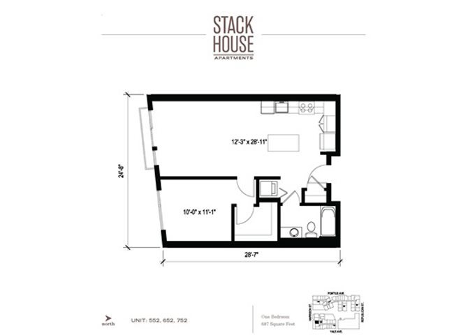 1bd/1ba Floor Plan 3