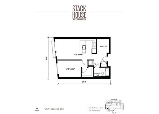 1bd/ba Den Floor Plan 5