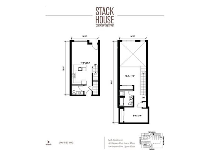 1bd/1ba Loft Floor Plan 4