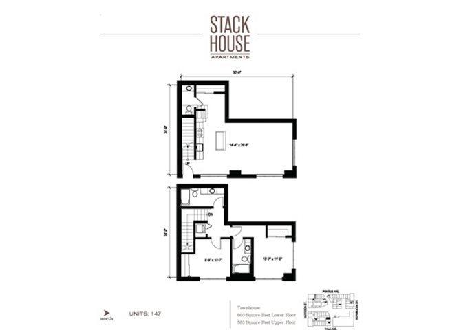 2bd/2.5ba + Den Floor Plan 13