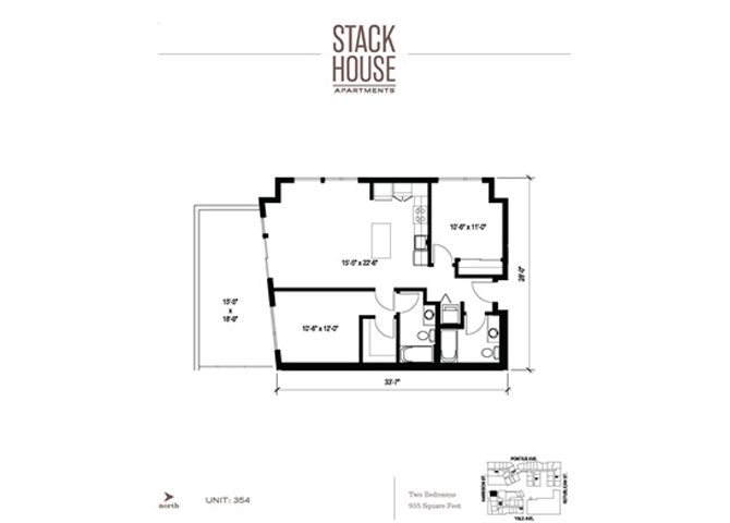 2bd/2ba Floor Plan 10