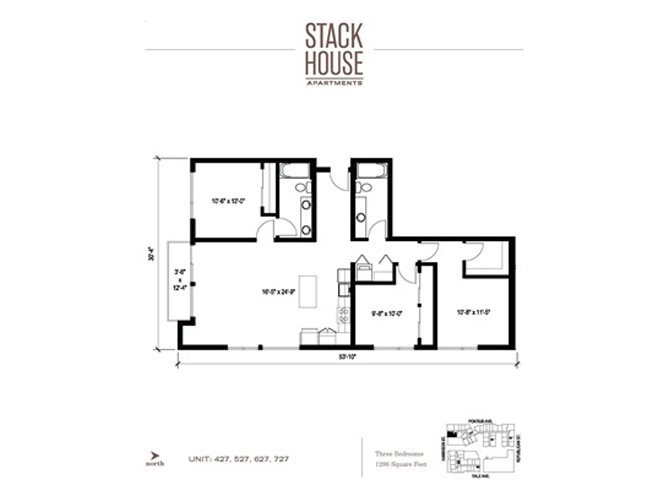 3bd/2ba Floor Plan 14